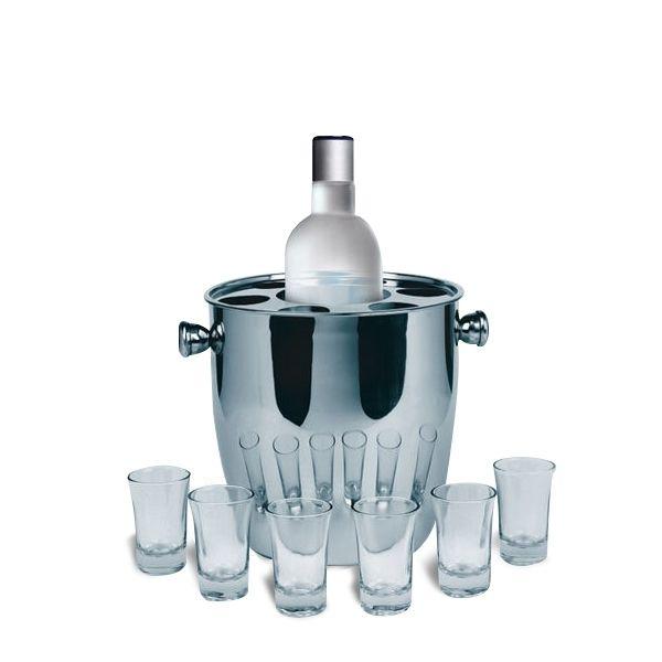 Totalcadeau Seau réfrigérant à bouteille champagne boisson alcool avec 6 verres