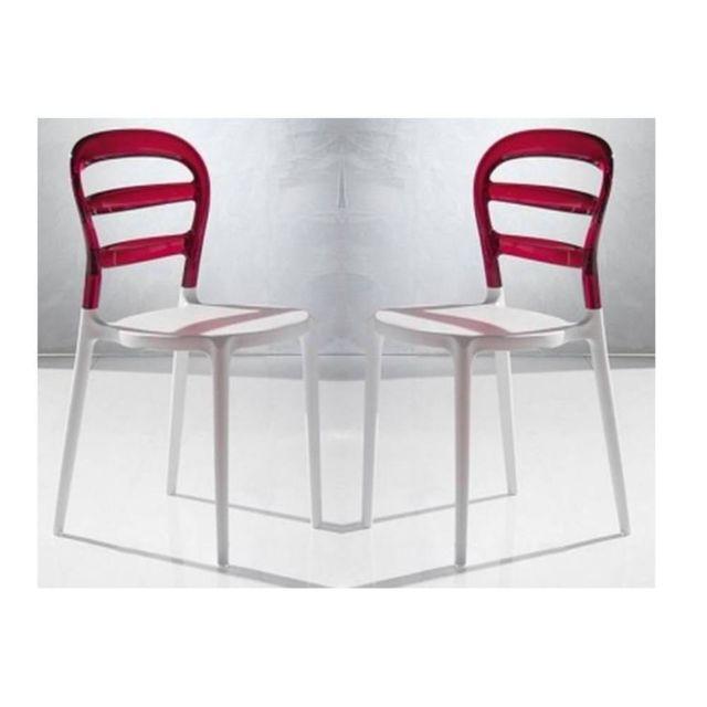 Inside 75 Lot De 2 Chaises Design Dejavu En Plexiglas Rouge Et Blanc