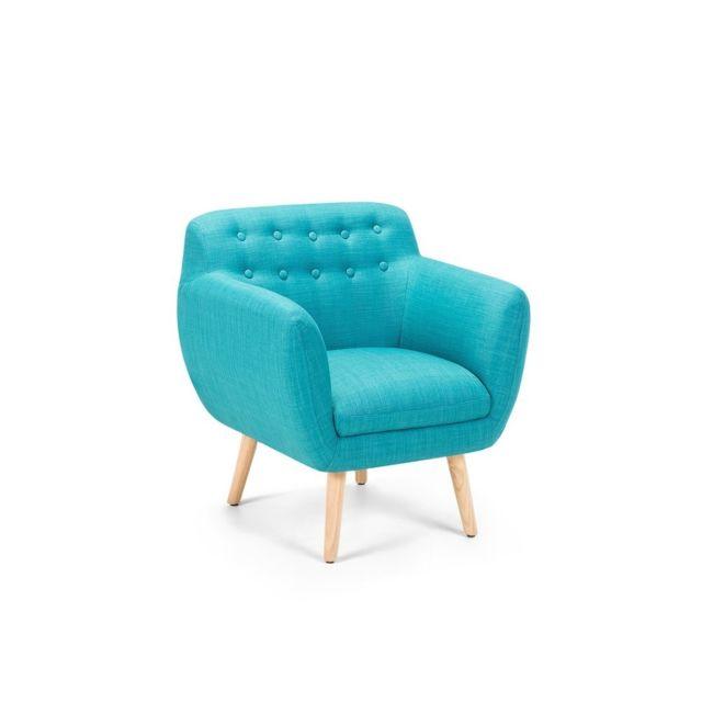 beliani fauteuil de salon fauteuil en tissu bleu. Black Bedroom Furniture Sets. Home Design Ideas