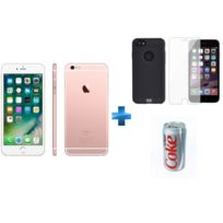 APPLE - iPhone 6S - 64 Go - Or Rose - Reconditionné + Verre trempe iPhone 6/6s/7/8 - Transparent + iPhone 6/6s Perf metal case - Noir + Batterie externe Coca-Cola Light - 10400 mAh