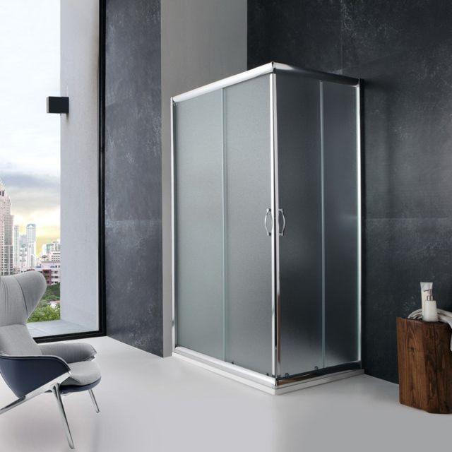 kiamami valentina cabine de douche 70x100 cm verre opaque portes coulissantes giada pas cher. Black Bedroom Furniture Sets. Home Design Ideas