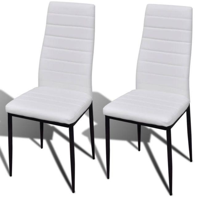 Icaverne Chaises de cuisine et de salle à manger collection Chaise de salle à manger 2 pcs Design fin Blanc