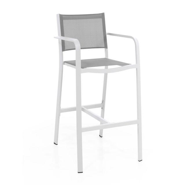 Blanc Alu Clair Gris Haute Chaise En Nassau Textilène RAj43qc5L