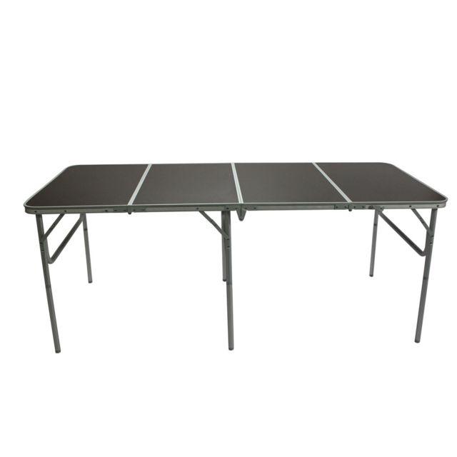 Carrefour Table Pliante L 180 X L 80 X H 70 Cm Aluminium