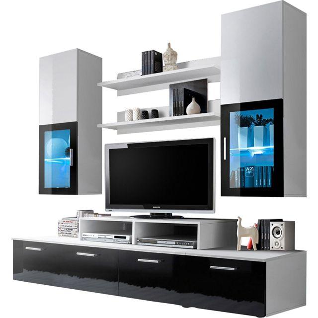 comforium - ensemble mural 200 cm avec 2 vitrines + meubles tv +