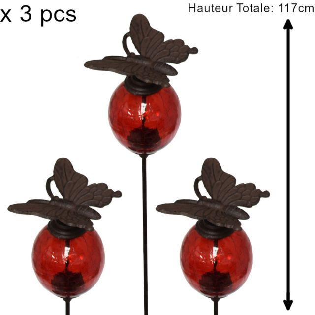 L'ORIGINALE Deco 3 Tuteurs Pic Tige Porte Plante Fleur de Jardin Rouge Papillon Marron 117 cm