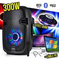 """Party Sound - Enceinte karaoké 8"""" 300W Leds - Fm/USB/SD/BT + Micro + Câble Pc + Effet Ovni"""