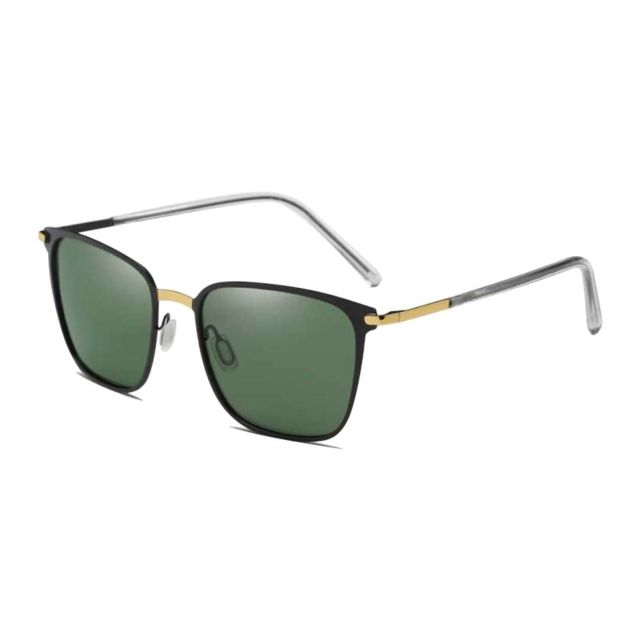 bc469c6301260 Wewoo - Lunettes de soleil or et noir vert foncé pour hommes Fashion Uv400  + Lunettes