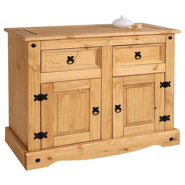 IDIMEX Buffet SALSA commode bahut vaisselier en bois style mexicain avec 2 portes et 2 tiroirs, en pin massif finition teintée/