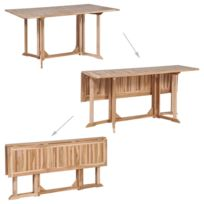 Icaverne Tables D Exterieur Collection Table De Salle A Manger Pliante Teck Massif 150 X 90 X 75 Cm