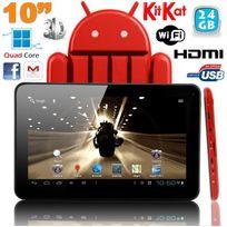 Yonis - Tablette tactile 10 pouces Android 4.4 KitKat Quad Core 24 Go Rouge
