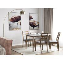 beliani lot de 2 chaise de salle manger en bois