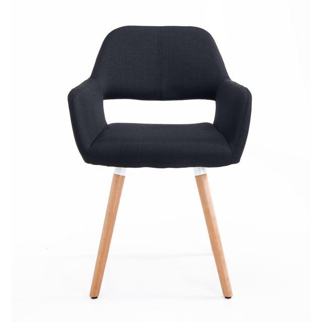 HOMCOM Chaise de visiteur design scandinave accoudoirs pieds bois massif 56L x 56l x 79H cm noir neuf 53BK