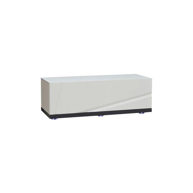 Elément bas à leds pour meuble Tv 110cm coloris blanc laqué et gris