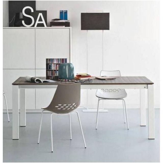 Inside 75 Table repas extensible Baron 130x85 greywood piétement métal blanc