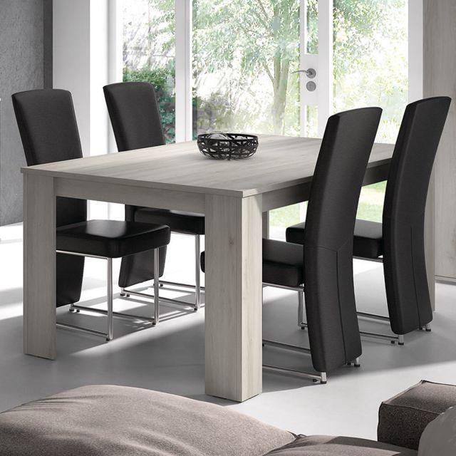Nouvomeuble Table à manger 180 cm contemporaine couleur chêne gris Trinita