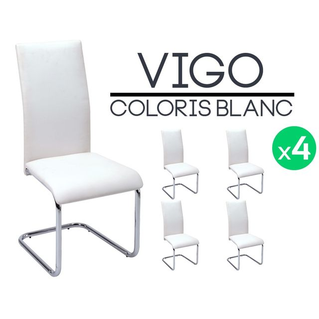 altobuy vigo lot de 4 chaises blanches pas cher achat vente chaises rueducommerce. Black Bedroom Furniture Sets. Home Design Ideas