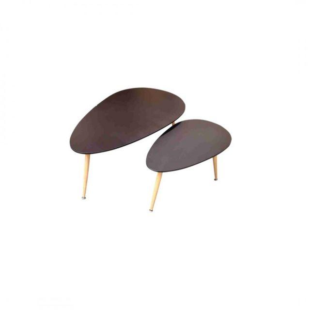 Zons Fly Lot de 2 tables basses Gigogne Noir au Style Scandinave