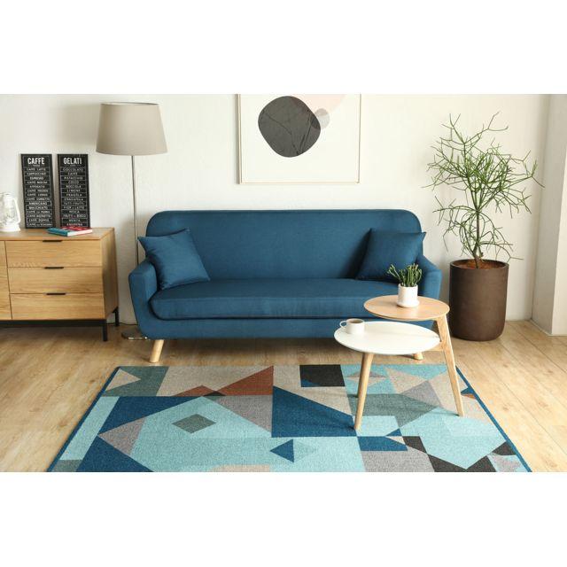 Concept Usine Canapé design scandinave Lena : 3 places Bleu + 2 coussins