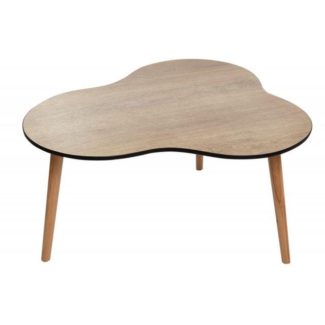 Meubletmoi Table basse vintage bois naturel trépied design nuage - Fifty