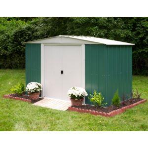 chalet jardin chalet jardin abri de jardin 7 m2 en m tal vert blanc pas cher achat. Black Bedroom Furniture Sets. Home Design Ideas