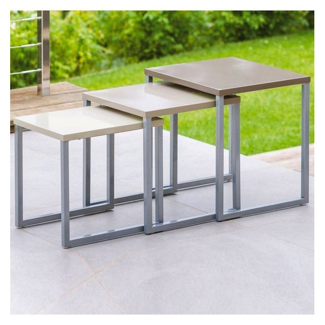 Hespéride Lot de 3 tables gigognes Manaus taupe