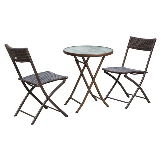 OUTSUNNY - Ensemble salon de jardin 2 places table ronde pliable ...