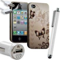 Karylax - Housse Étui Coque en Gel + Chargeur Voiture Auto + Stylet pour Apple Iphone 4 / 4S avec motif Hf31