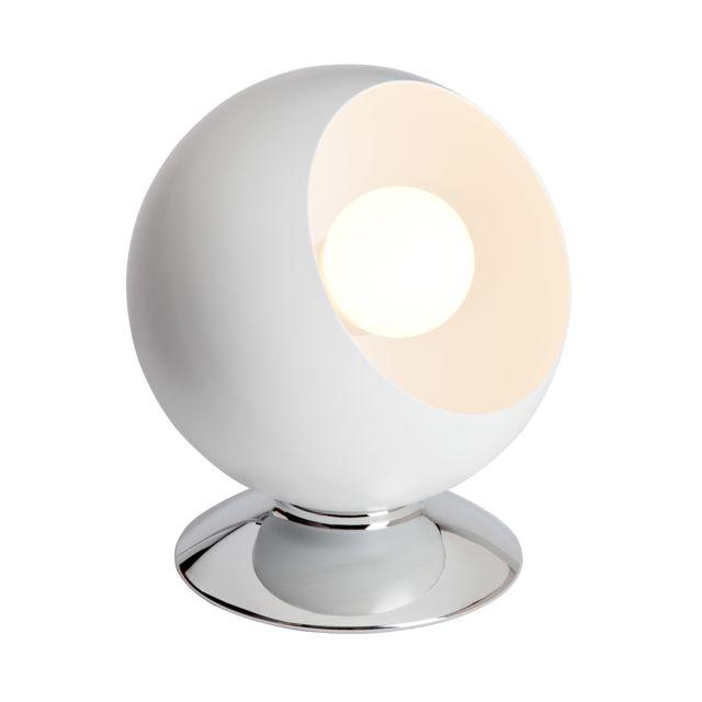 Brilliant - Lampe à poser boule en métal finition chromée diamètre 15cm Magali
