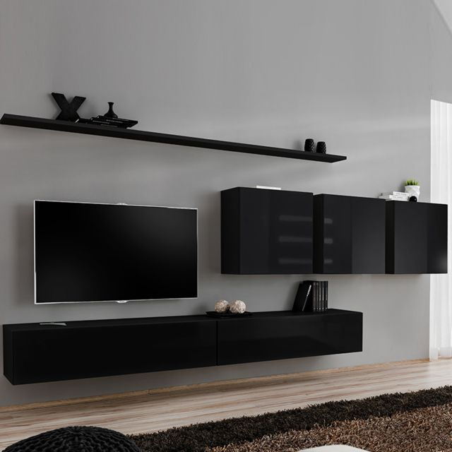 Nouvomeuble Ensemble meuble télé noir laqué design Talsano 4