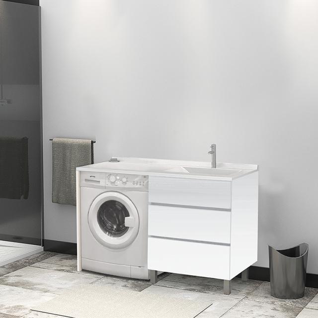 CREAZUR Meuble vasque à Droite KORA LL 124D - Blanc -hors miroir et LL