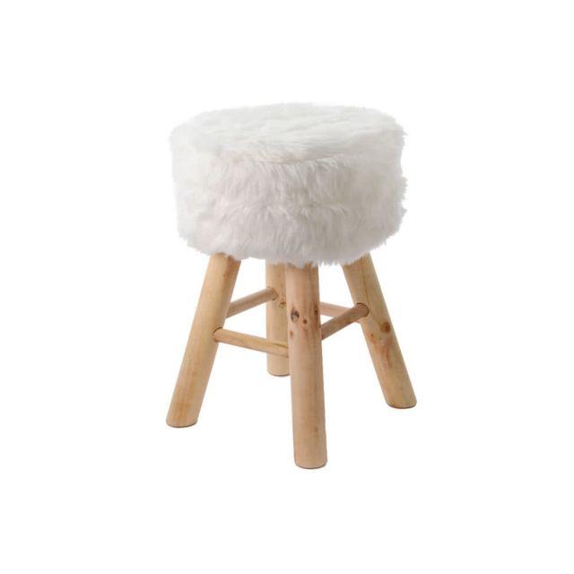 Axe Design - Tabouret en bois de Sapin naturel et fausse fourrure Diamètre 28 cm Beige