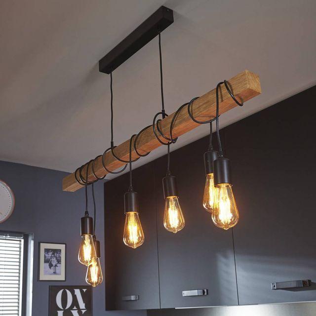 eglo lampe de suspension lin aire bois noir townshend. Black Bedroom Furniture Sets. Home Design Ideas