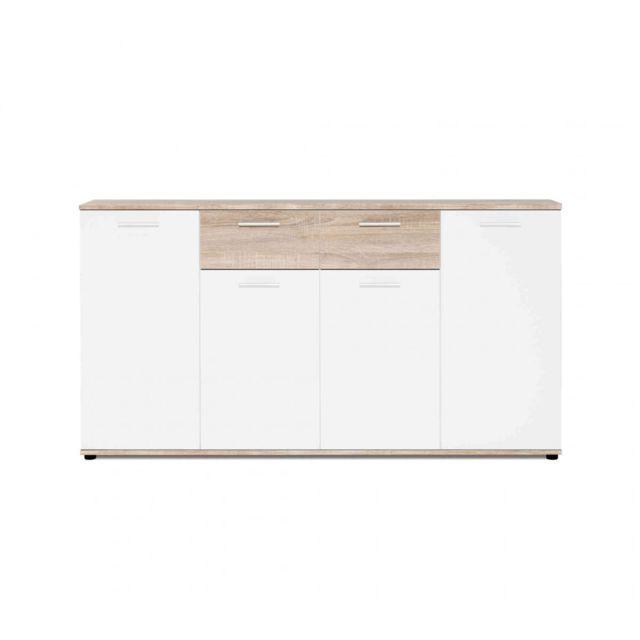 TERRE DE NUIT Commode 4 portes 2 tiroirs en bois naturel et blanc - CO7088