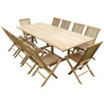 Teck'LINE - Ensemble de jardin en teck premium Astana 10 chaises Jenae