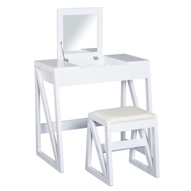 HOMCOM - Coiffeuse table de maquillage avec tabouret miroir rabattable 9  compartiments intégrés 80L x 50l 27049343535f