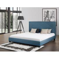 Beliani - Lit en tissu - lit double 180x200 cm - sommier inclus - Marseille - bleu foncé