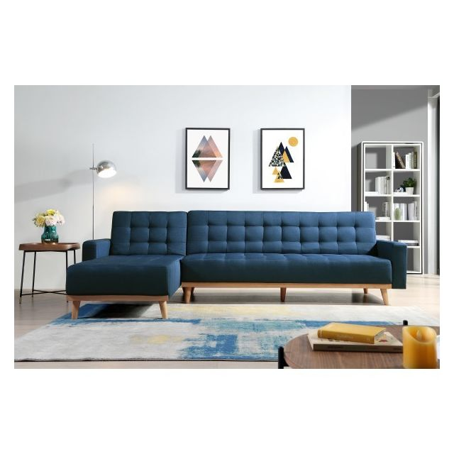 Moloo Canapé d'angle convertible Tissu bleu pieds bois Kimmy Xl
