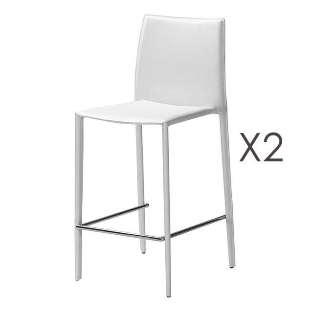 Lot de 2 chaises de bar en cuir recyclé coloris blanc BORA BORA