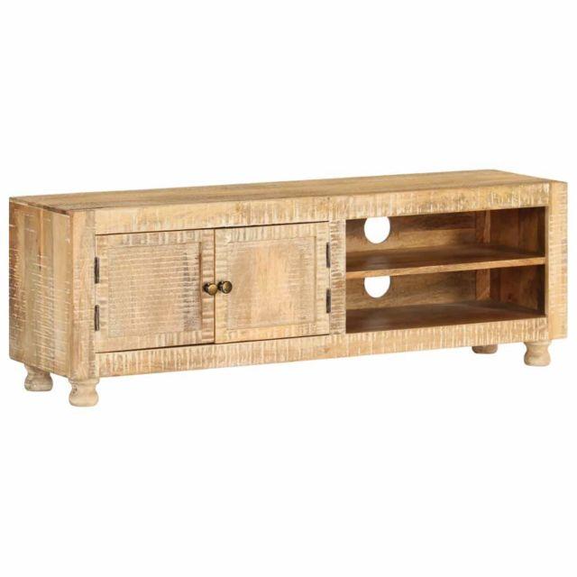 Helloshop26 Meuble télé buffet tv télévision design pratique bois de manguier massif 118 cm 2502134