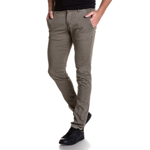 47e32369768f American People - Pantalon homme slim gris chino - pas cher Achat ...