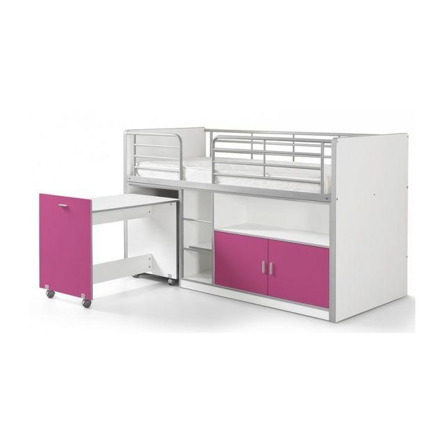 Vipack Lit Mezzanine + Bureau + Rangement 90x 200 Bonny Fuchsia