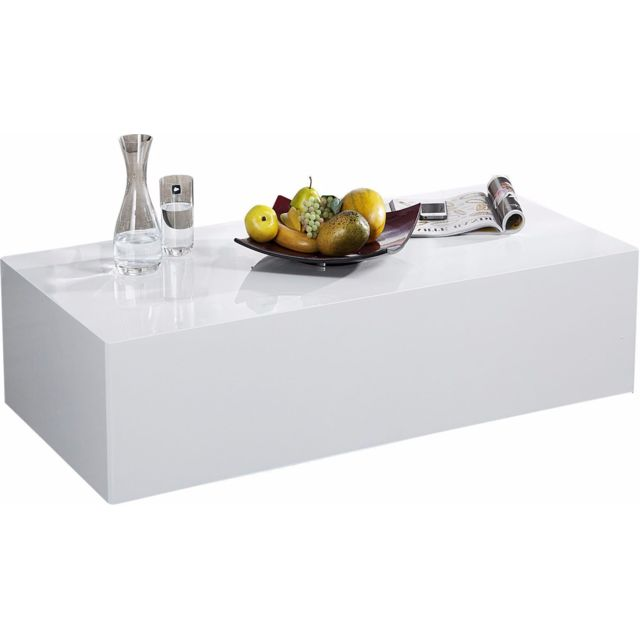 Comforium Table basse rectangulaire 100 cm en Mdf coloris blanc