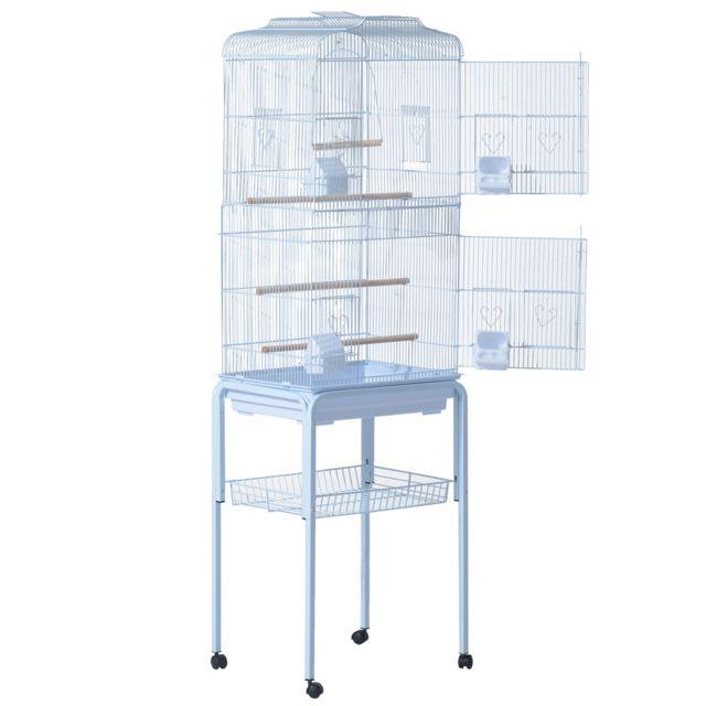 PAWHUT Grande volière multi-accessoires mangeoires perchoirs bac amovible roulettes 48 x 37 x 160 cm blanc