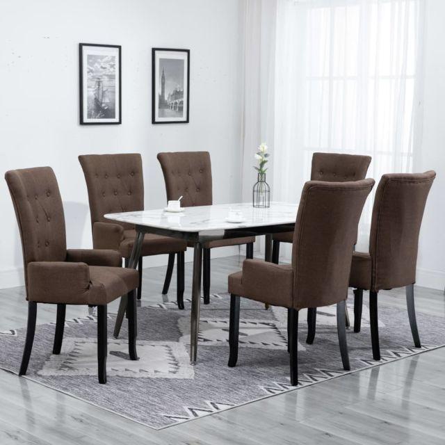 Chaise de salle à manger avec accoudoirs 6 pcs Marron Tissu
