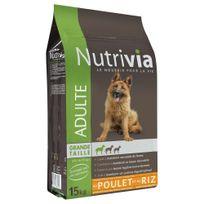Nutrivia - Croquettes au Poulet et Riz pour Chien Adulte de Grande Taille 15Kg