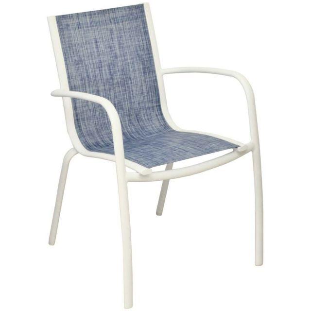 PROLOISIRS Fauteuil Linea en aluminium et textilène jean's Lot de 2