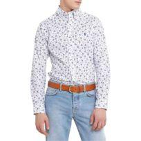 00f2c2adbf973 Ralph Lauren - Chemise blanche imprimé voilier logo bleu slim fit pour homme