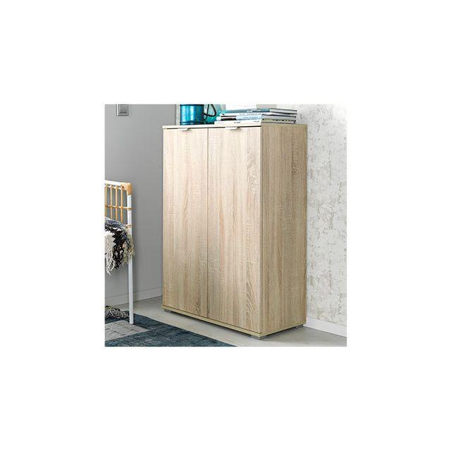 Commode 2 portes 71x101x35 cm chêne naturel