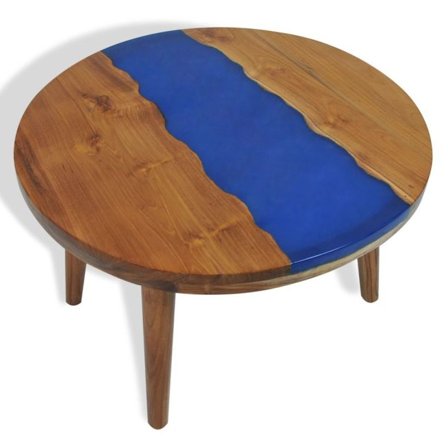 Vidaxl Teck Table Basse Résine 60x40 cm Table d'Appoint Meuble de Salon Maison